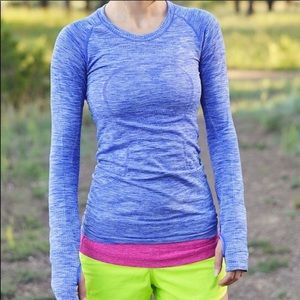 Lulu🍋 Swifty tech long sleeve, Heather Blue, 8